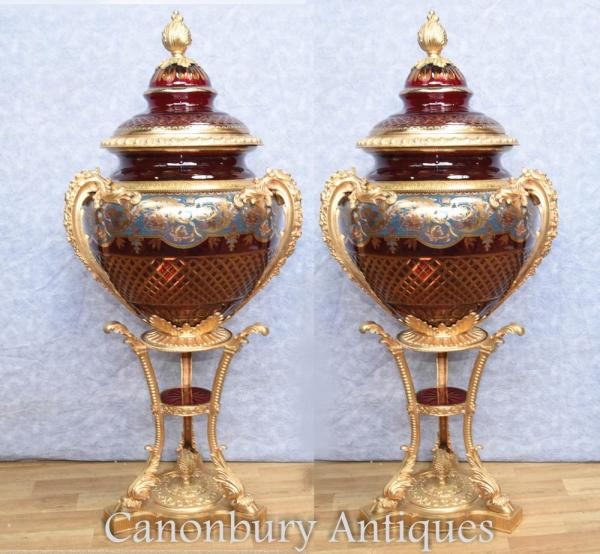 Pair Large Russian Cut Glass Urns Vases Stands Imperial
