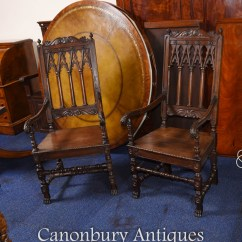 Gothic Chairs Uk Best Gaming Chair Under 200 Pair Oak Arm Farmhouse Furniture Ebay