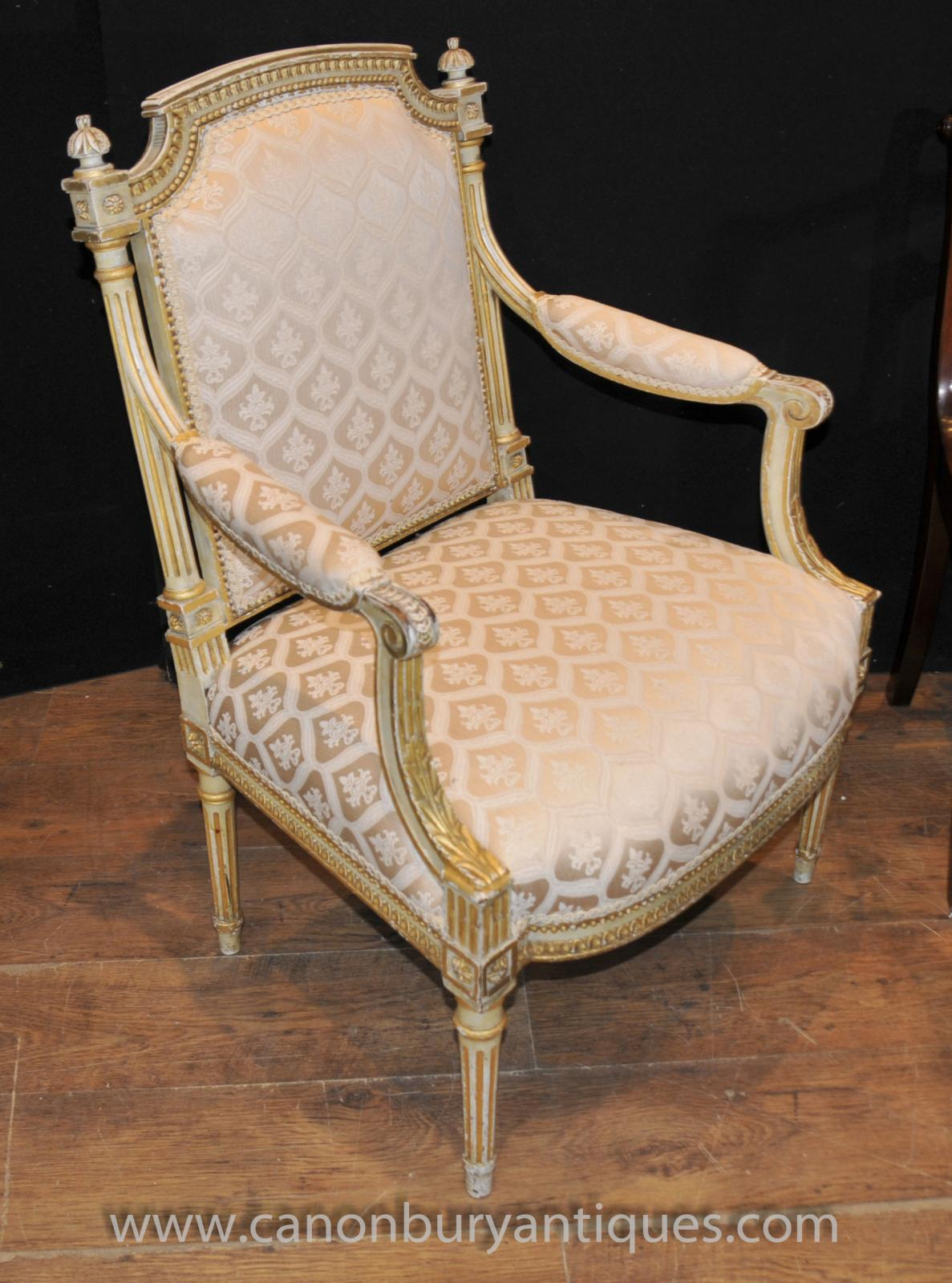 Due North Chairs Pair Painted French Empire Arm Chairs Fauteils Painted