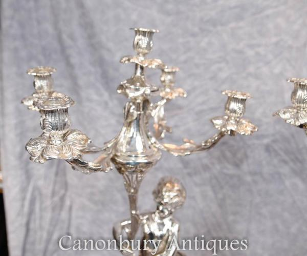 Pair Regency Silver Plate Cherub Candelabras Candlesticks
