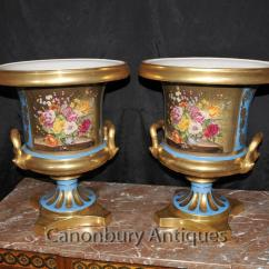 Antique White Chairs Wooden Garden Argos Pair Sevres Porcelain Campana Urns Planters French Floral Vases