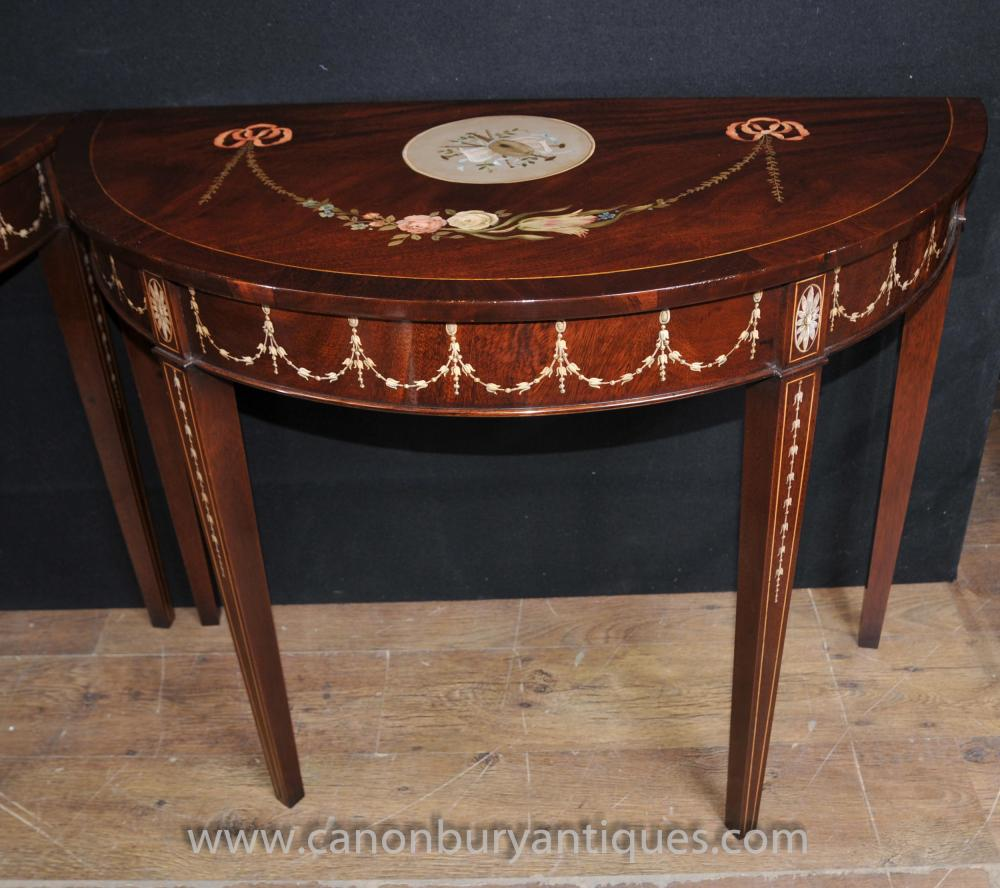 card table with chairs wooden wedding pair sheraton painted console tables in mahogany regency furniture