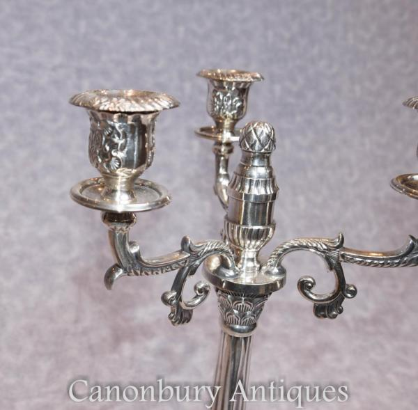 Pair Victorian Sheffield Silver Plate Candelabras Candles