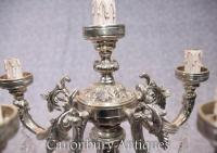Pair Victorian Silver Plate Candelabras Table Lamps Lights ...