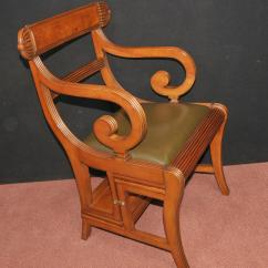 Library Chair Ladder Plans Heated Seat Cushion For Office Regency Metamorphic Steps Walnut Arm