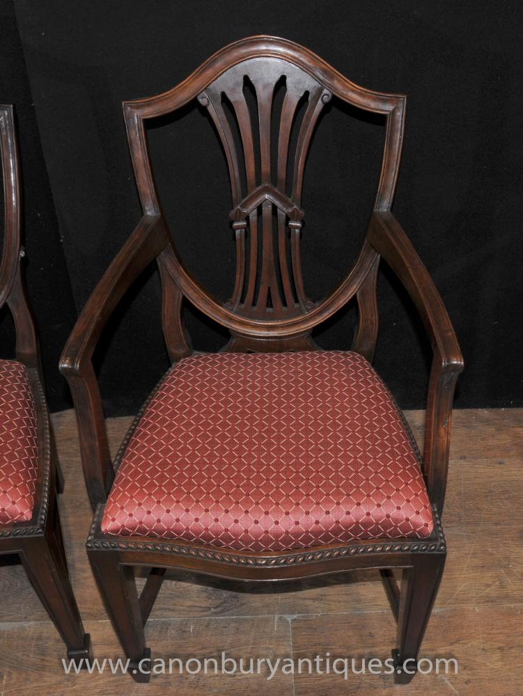 Set 10 Mahogany Hepplewhite Dining Chairs Diners Arm Chair
