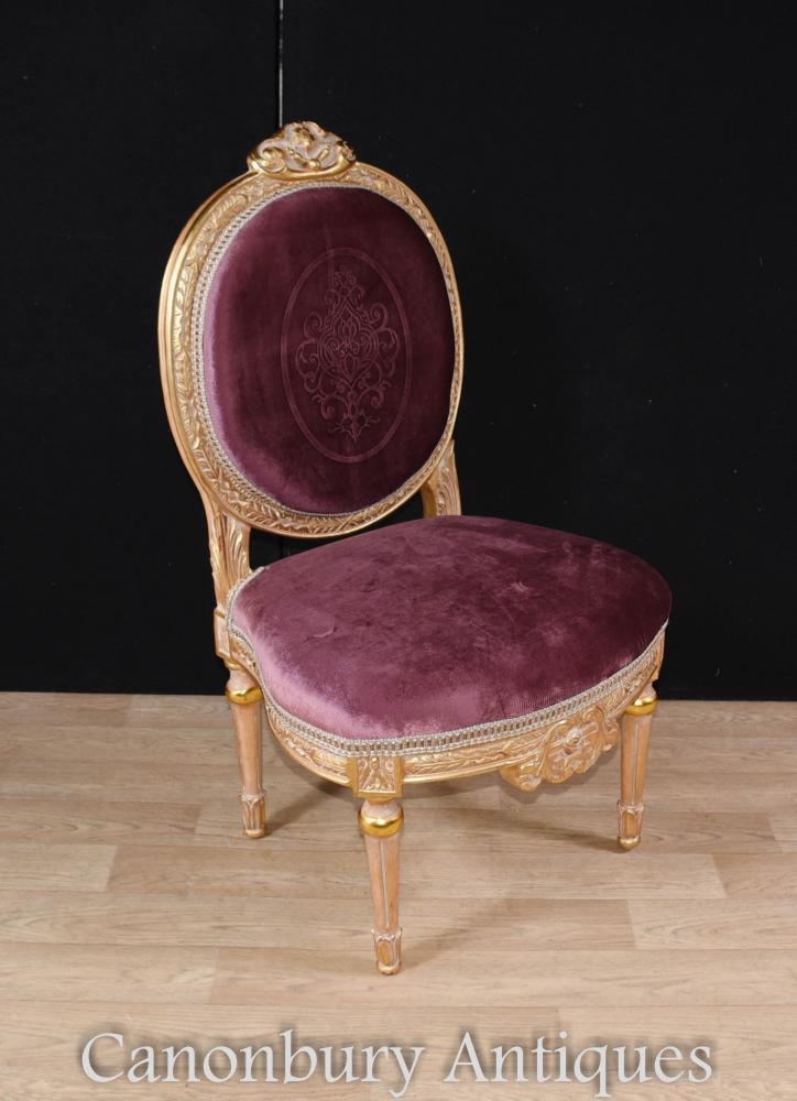 Set 4 French Empire Gilt Dining Chairs