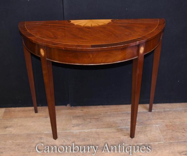 Single Hepplewhite Console Table Mahogany Hall Tables