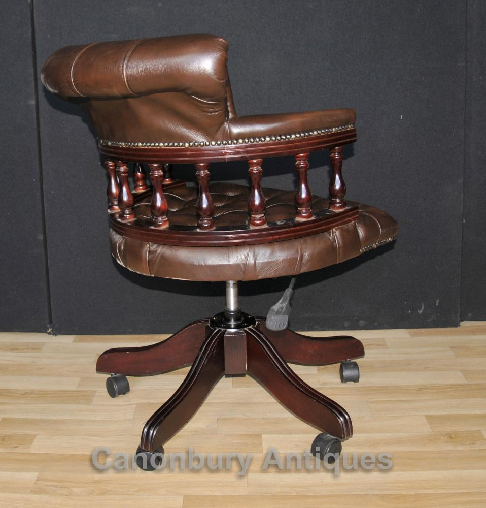 swivel chair quotes island chairs for kitchen victorian captains office desk with leather ebay additional images