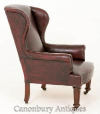 Victorian Leather Gentlemans Wing Arm Chair | eBay