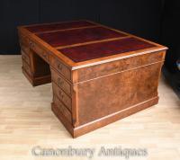 Walnut Victorian Partners Desk Office Writing Table