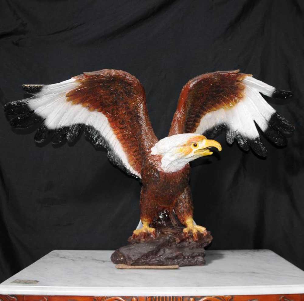 Coloured Bronze American Golden Eagle Bird Prey Statue Us Art Casting