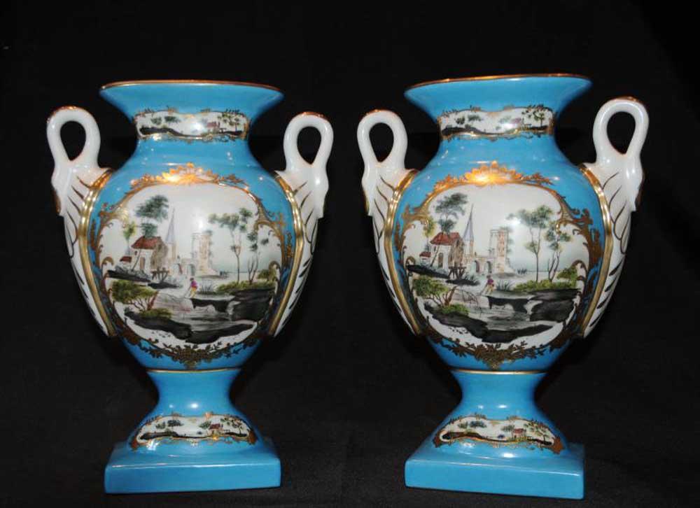 Dresden China Porcelain Floral Urns Swan Vases