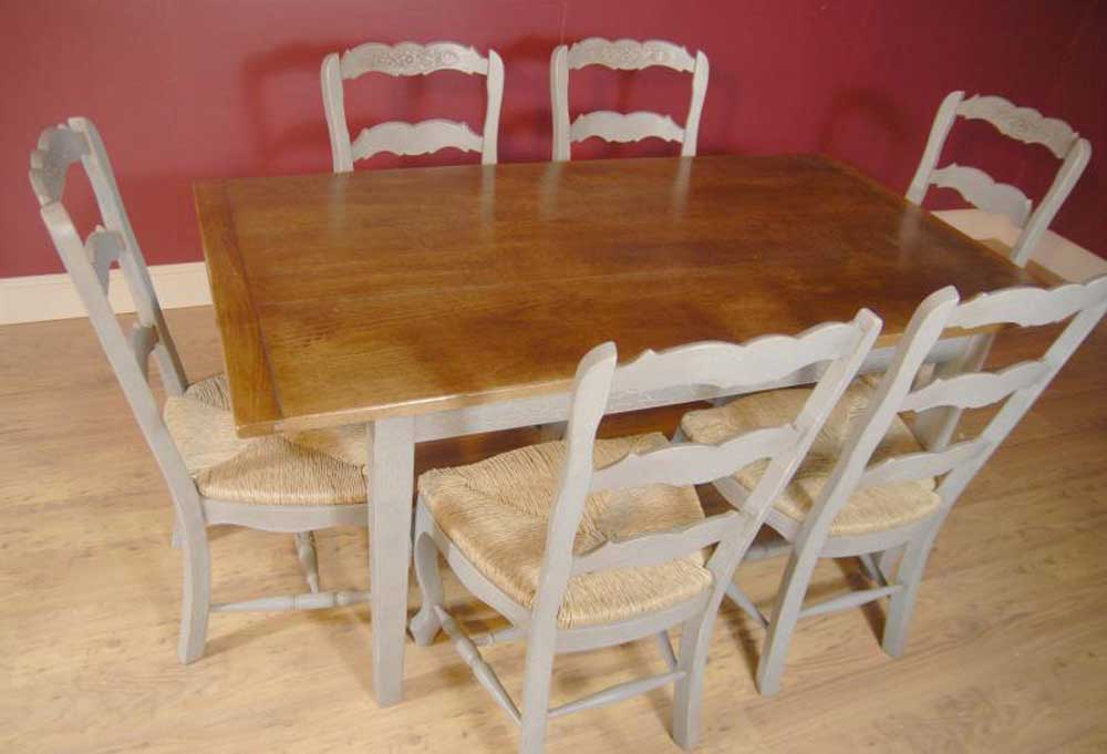 antique french dining table and chairs vinyl fabric for kitchen english farmhouse painted ladderback chair & refectory set