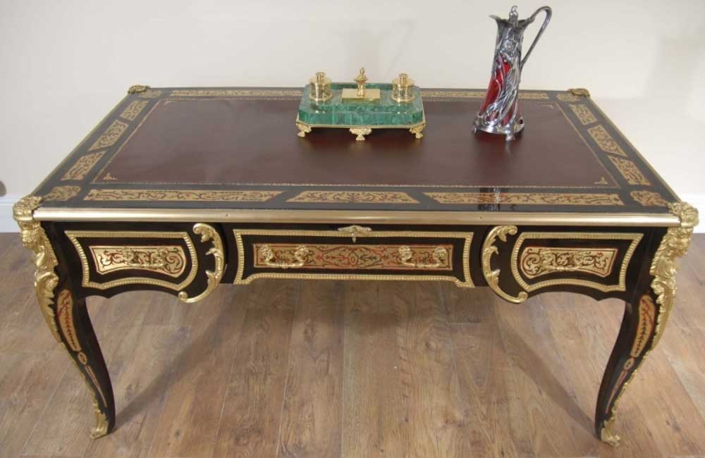 French Boulle Writing Desk Bureau Plat Table Desks