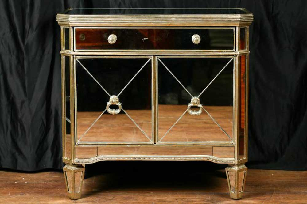 Mirrored Deco Cabinet Chest Cupboard Borghese Furniture