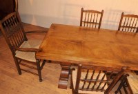 Oak Kitchen Diner Chair Set Refectory Table and ...
