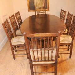 Oak Farmhouse Chairs High Chair That Hooks On Table Kitchen Refectory Dining Set Spindleback