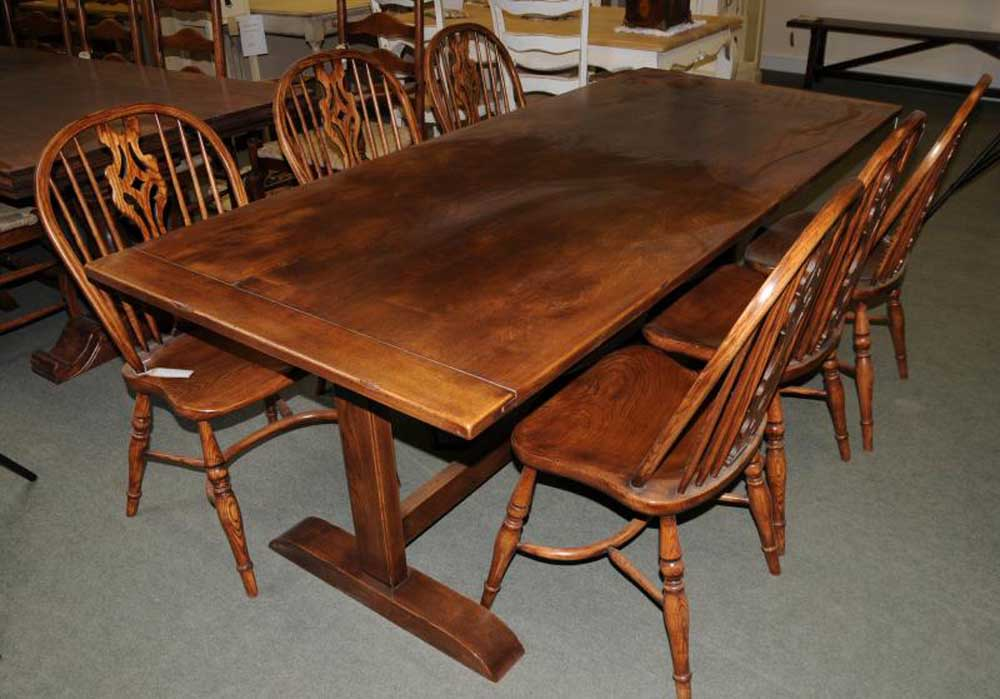 Oak Refectory Table Kitchen Dining Furniture Trestle Tables