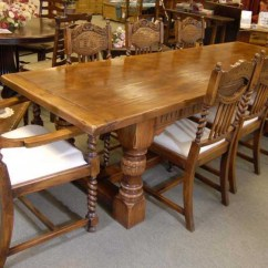 Farmhouse Chairs For Sale Modway Office Chair Parts Oak Refectory Table Set William Mary Kitchen Ebay Details About