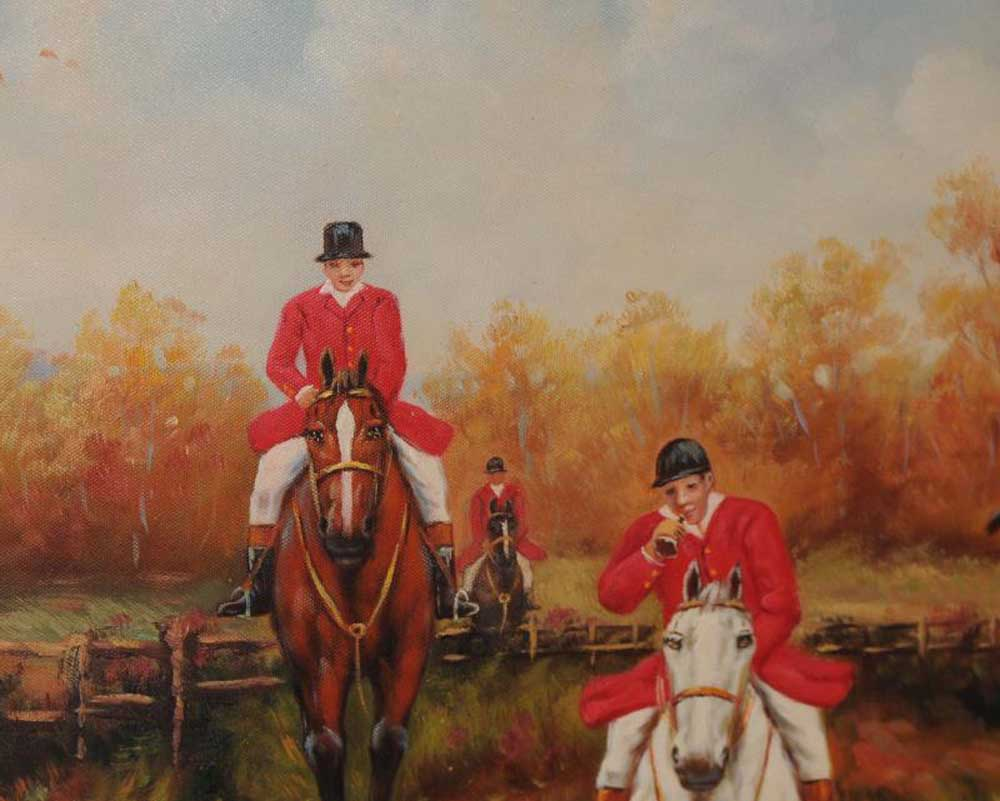 Oil Painting Fox Hunting Scene Hunt Horse Victorian Art Signed