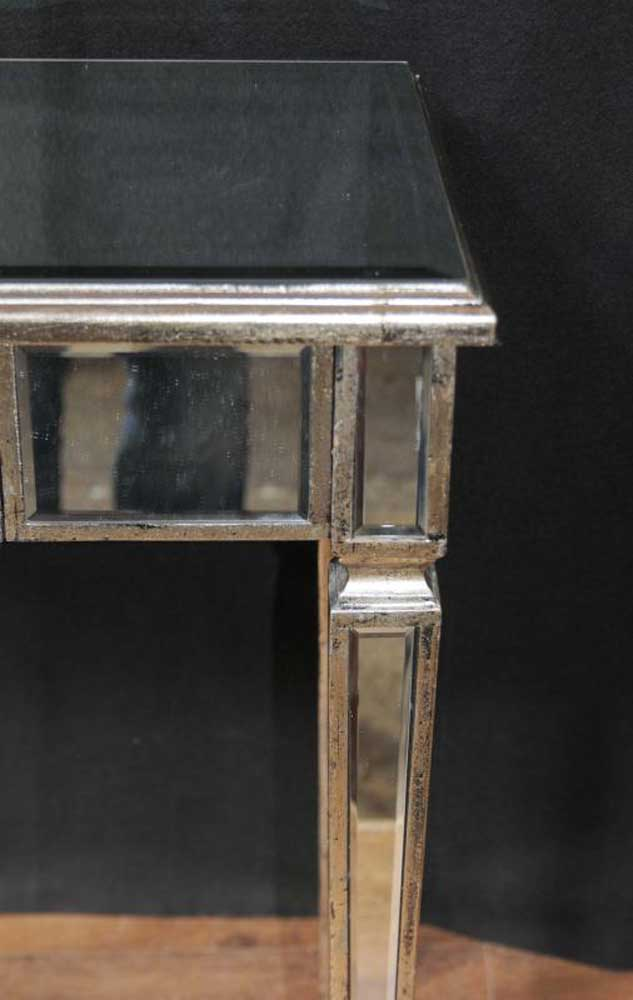 Pair Art Deco Mirror Side Tables Mirrored Occasional Table