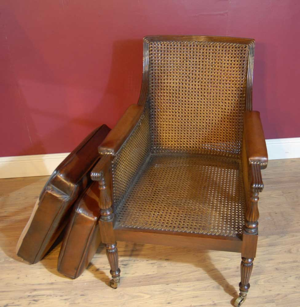 Pair French Regency Bergere Chairs Leather Arm Chair Walnut