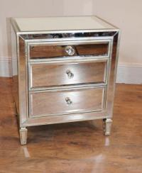 Pair Mirrored Nightstands Bedside Chests Tables | eBay