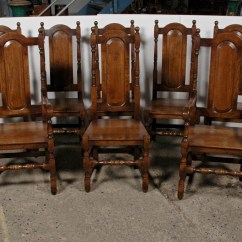 Oak Farmhouse Chairs Ice Fishing Manufacturers Dining Elizabeth Tudor Diners Set Of 8 Ebay Categories