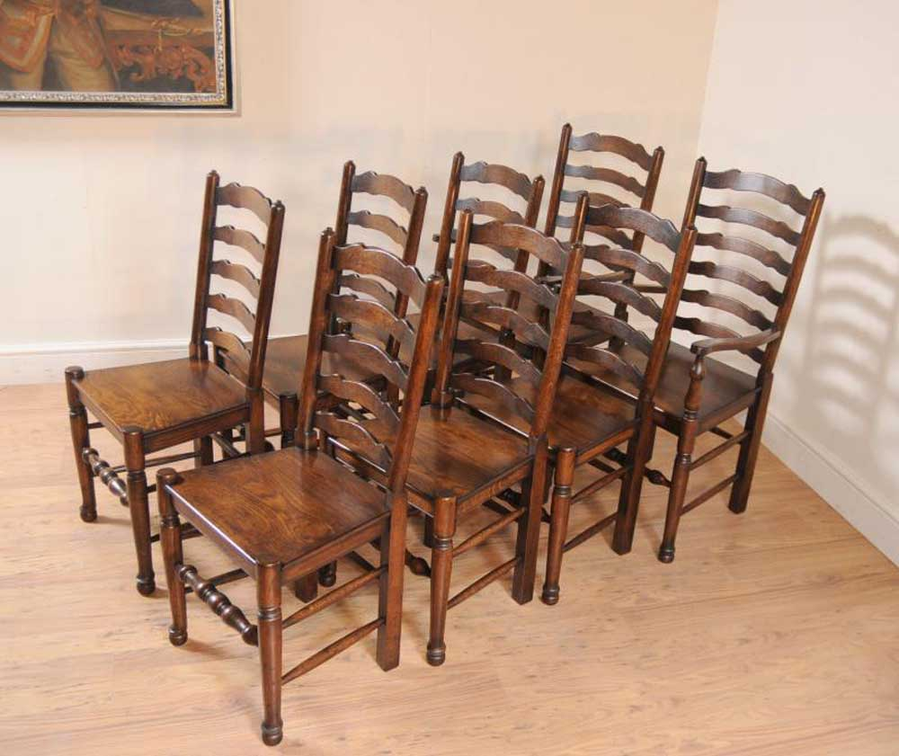 victorian table and chairs kitchenette chair sets set 8 oak ladderback kitchen dining farmhouse furniture