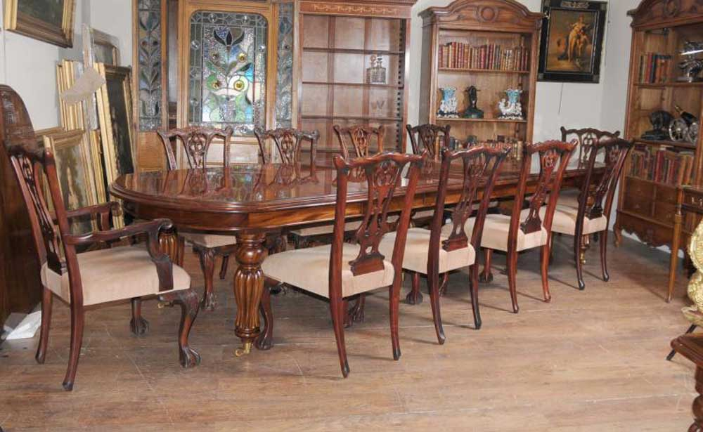 Victorian Dining Table Set Chippendale Chairs Set Suite