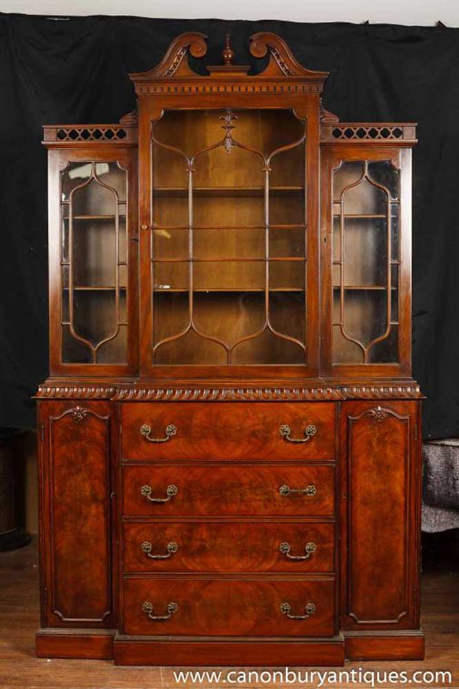 Victorian Gothic Breakfront Bookcase Mahogany Bookcases