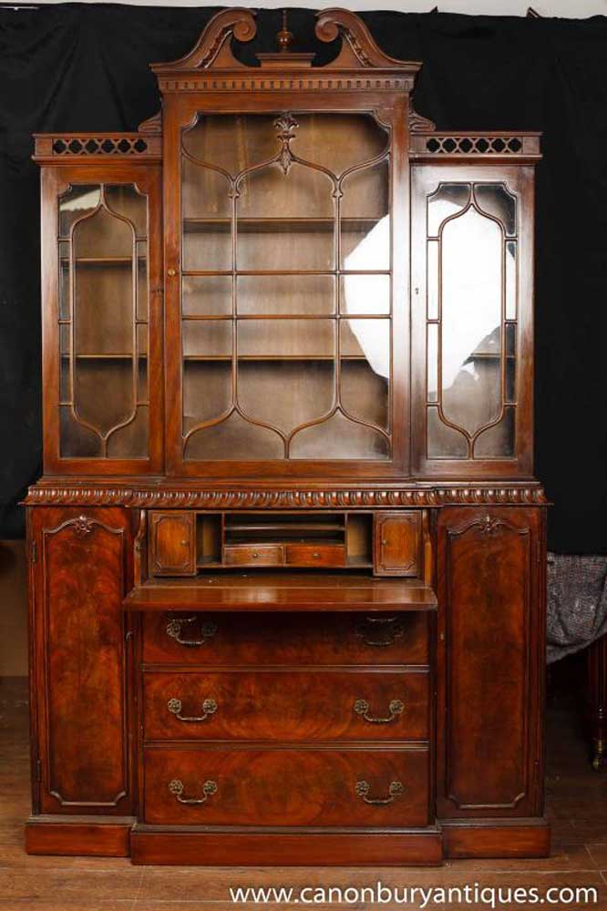 Victorian Gothic Breakfront Bookcase Mahogany Bookcases