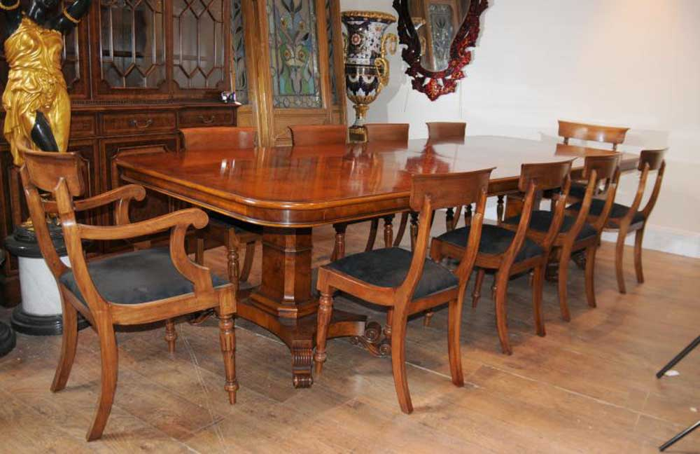 Walnut Regency Dining Table Amp Chairs Set Suite
