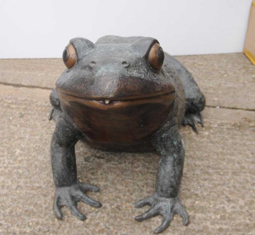 XL Bronze Frog Toad Statue Garden Art Animal Statues