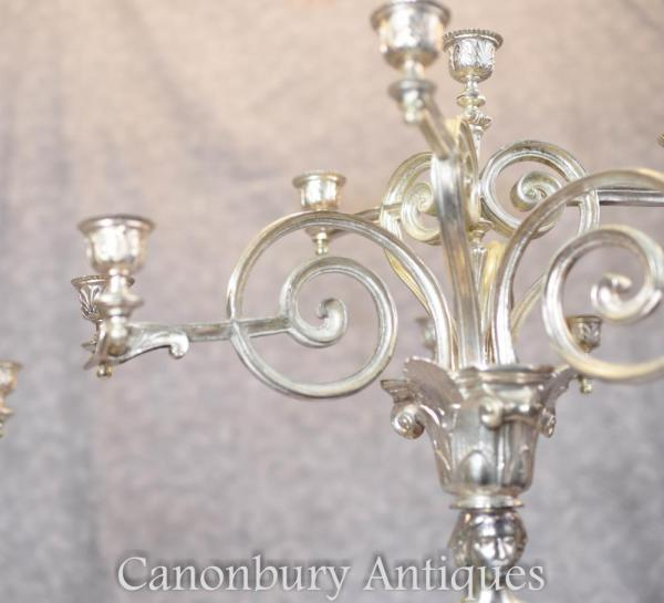 Pair Silverplate Candelabras - 2.5 Ft English Victorian