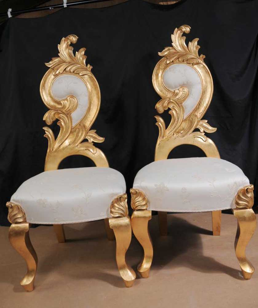 Funky Glassware Pair French Grotto Chairs Rococo Throne Funky Seats