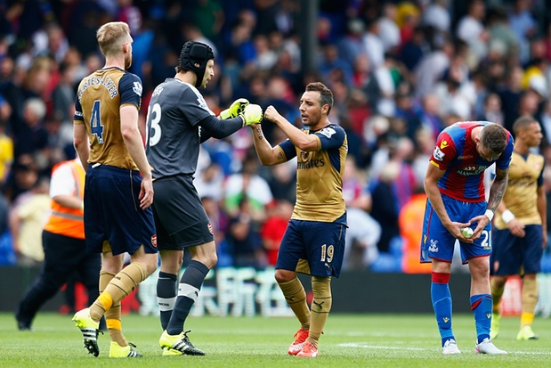 Arsenal celebrate victory against Crystal Palace