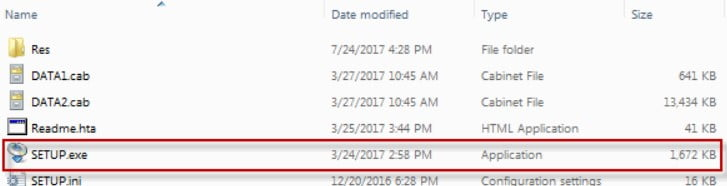 Open the folder that was created and click the file named Setup.exe.