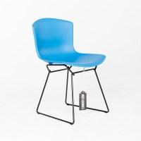 Knoll Bertoia Plastic Chair // Blauwe kuip zwart onderstel ...