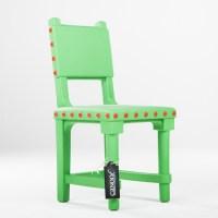Moooi Gothic Chair blauw // witte knoppen (kunststof