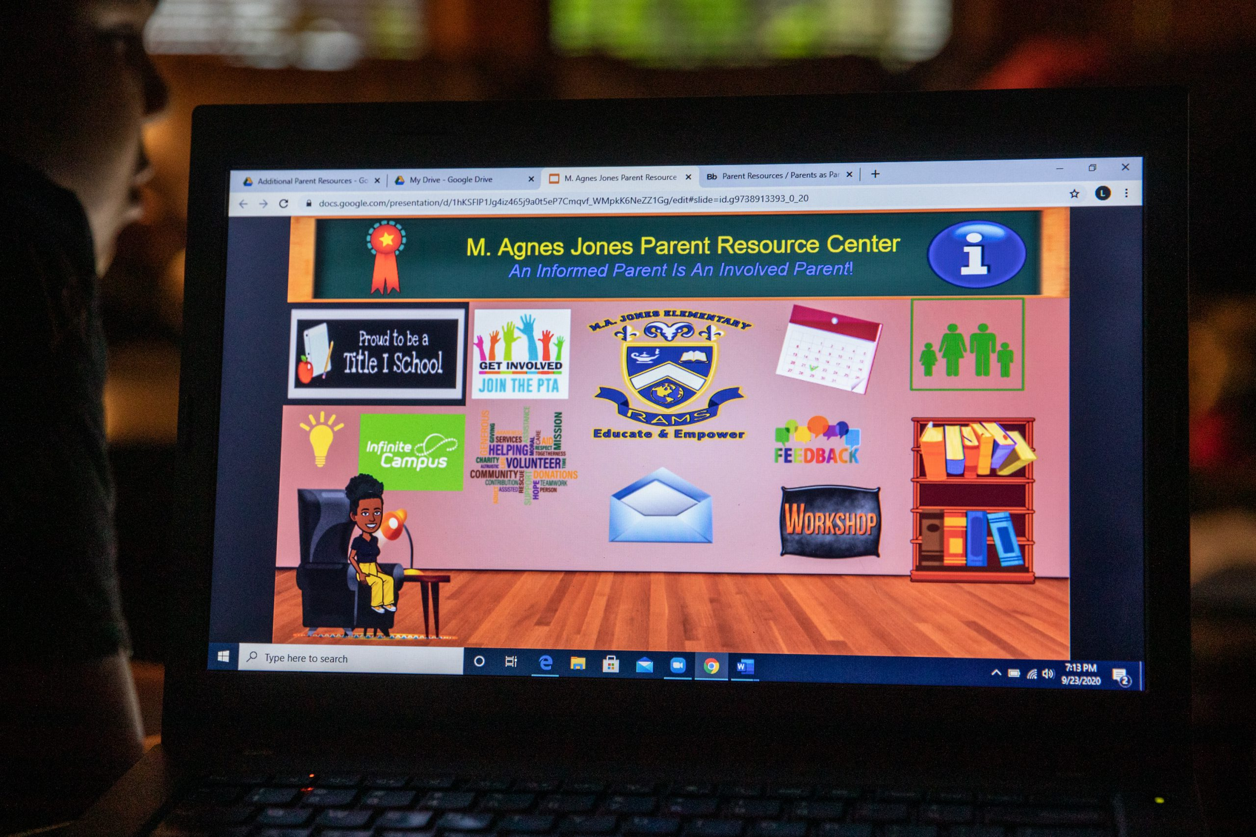 A laptop shows an animated parent resource center