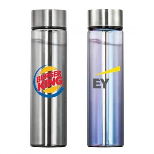 Metallic Finish Custom Glass Water Bottle