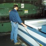 """Sheets are fed into the shear with +/-0.005"""" tolerance (click for larger view)"""