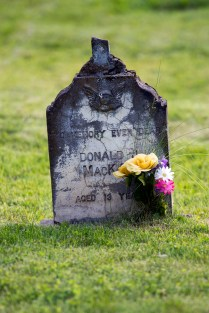 Teenager's gravestone in Quesnel's Old Cemetery.