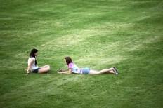 Texting friends, LeBourdais Park.