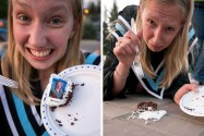 She has such survival instincts that the cake with her face on it even tried to flee from impending doom.