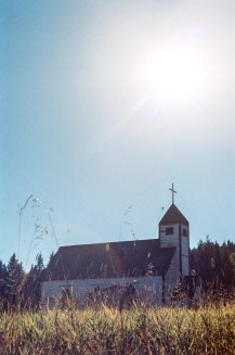 Red Bluff church into the sun