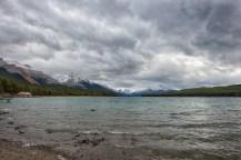 A choppy Maligne Lake