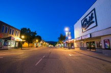 Quesnel downtown, looking up Reid Street past the Carib Theatre.